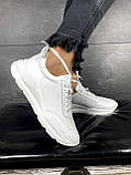 Женские кроссовки кожаные весна/осень белые Brand 040-б, фото 8