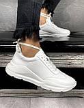 Женские кроссовки кожаные весна/осень белые Brand 040-б, фото 9