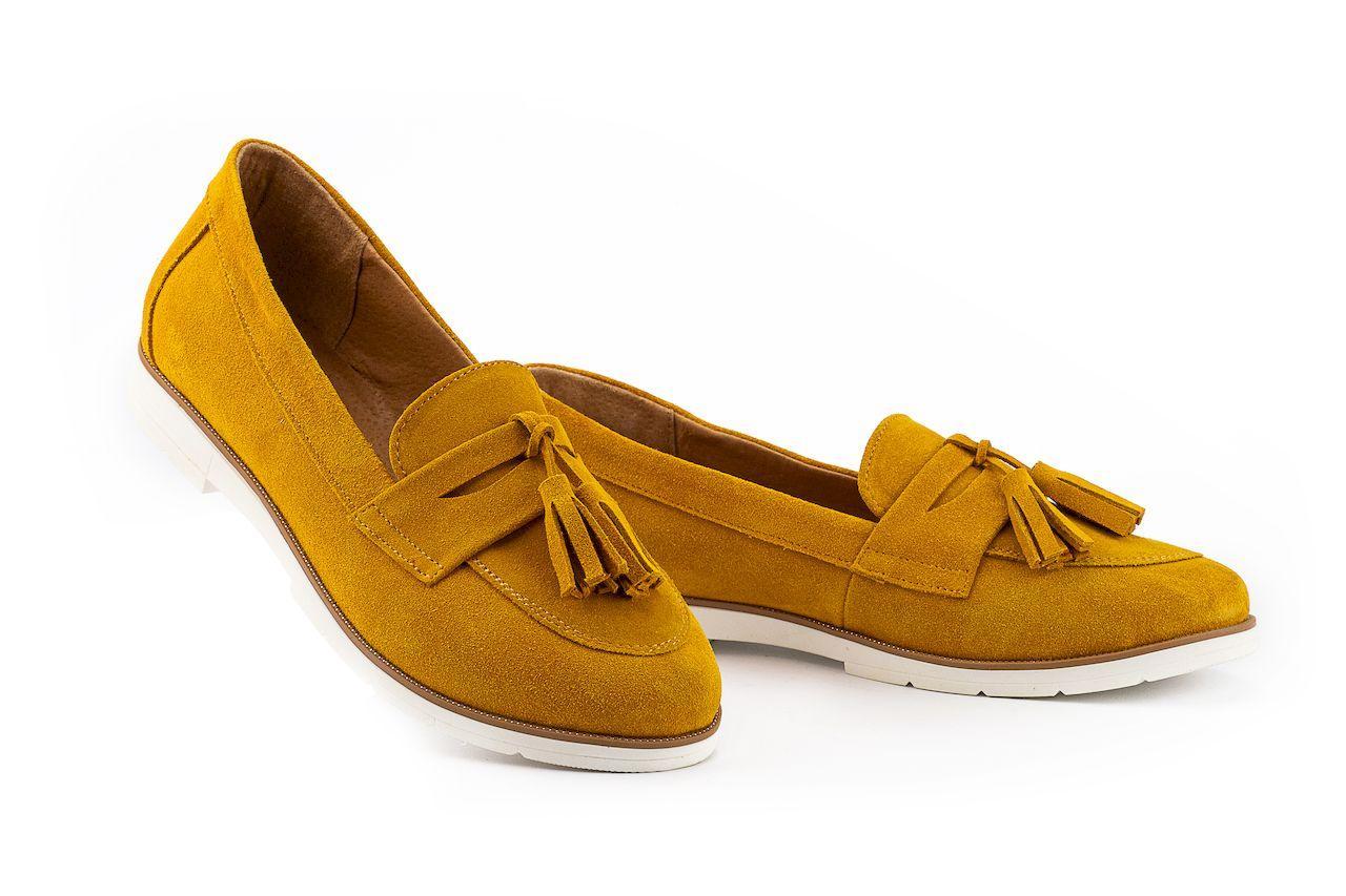 Женские туфли замшевые весна/осень желтый-белые Mkrafvt 0016
