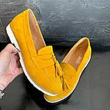 Женские туфли замшевые весна/осень желтый-белые Mkrafvt 0016, фото 5