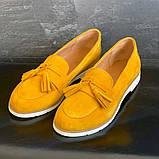 Женские туфли замшевые весна/осень желтый-белые Mkrafvt 0016, фото 6