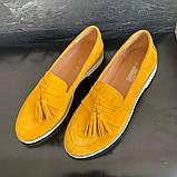 Женские туфли замшевые весна/осень желтый-белые Mkrafvt 0016, фото 7