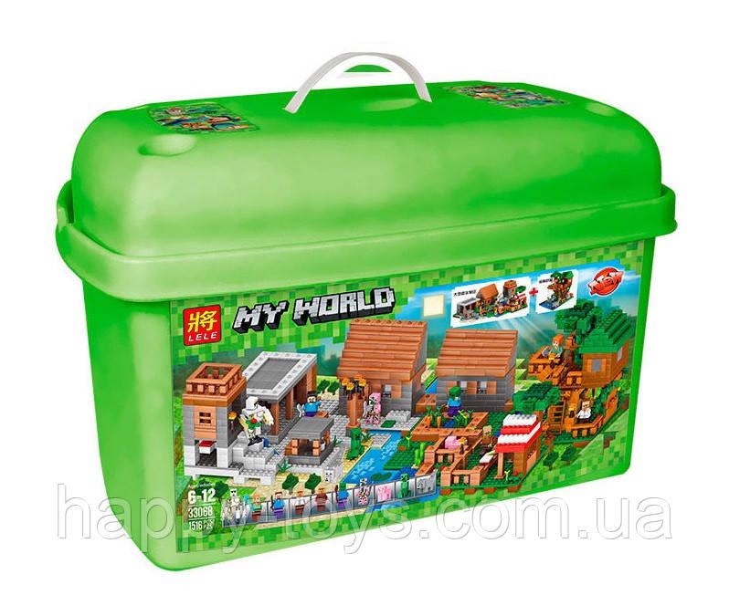 Конструктор Майнкрафт в чемодане Деревня и дом на дереве Minecraft Lele 33068 My World 1516 деталей