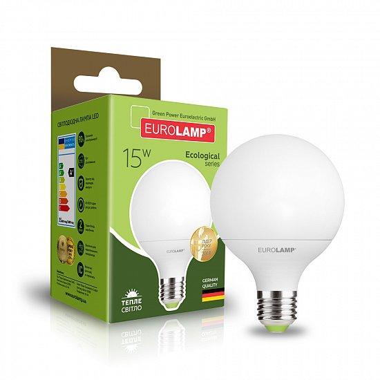 LED Лампа EUROLAMP ЕКО G95 15W E27 3000K