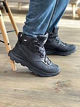 Мужские ботинки кожаные зимние черные-нубук Extrem 1220/59-01