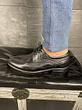 Мужские туфли кожаные весна/осень черные Vivaro 611 (Oxford), фото 4