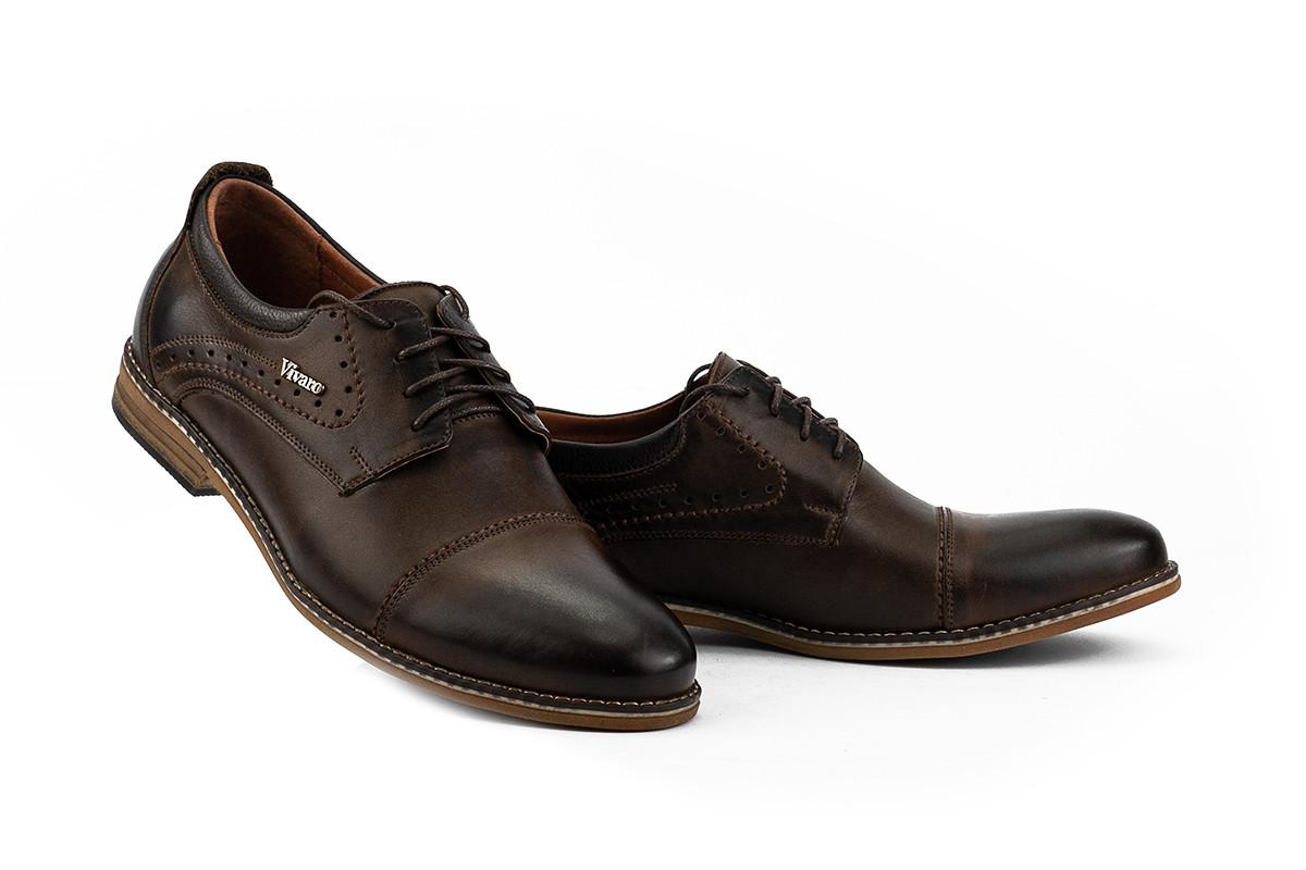 Мужские туфли кожаные весна/осень коричневые Vivaro 555