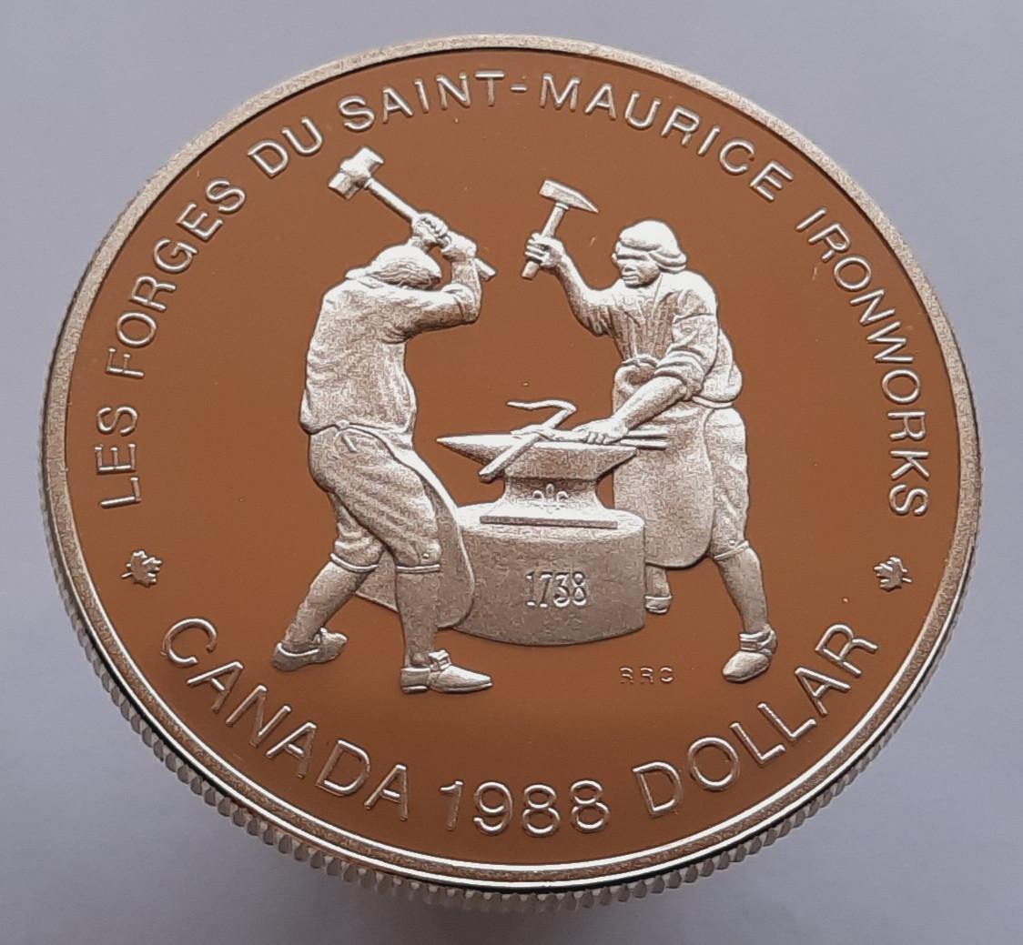 Канада 1 доллар 1988 - 250 лет кузнецам Сен-Мориса  Серебро