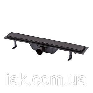 Трап линейный Qtap Dry Tile304-600MBLA с нержавеющей решеткой 600х70