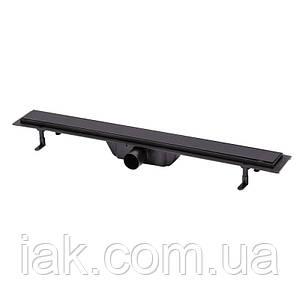 Трап линейный Qtap Dry Tile304-800MBLA с нержавеющей решеткой 800х70