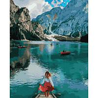 Картина по номерам Путешественница у озера Брайес 40х50 (Без коробки) расскраска по номерам