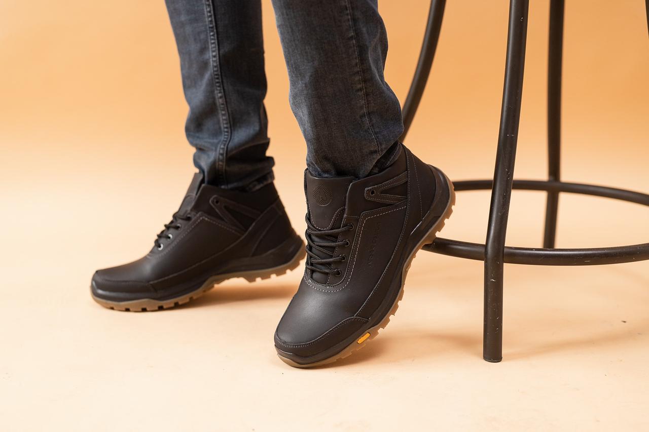 Мужские кроссовки кожаные зимние черные Anser 124