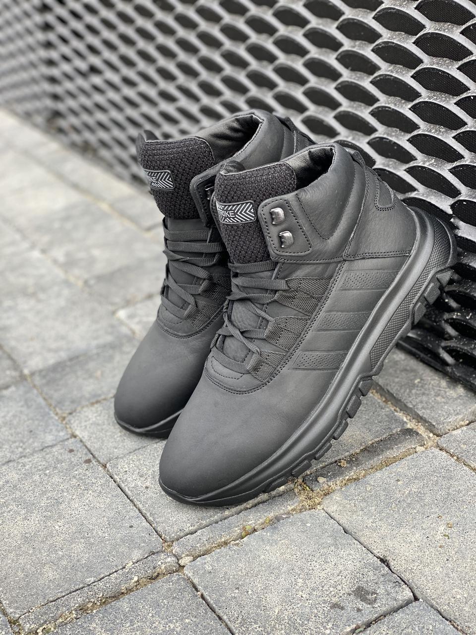 Мужские ботинки кожаные зимние черные Trike 420