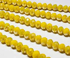 Бусины хрустальные (Рондель) 8х6мм  пачка - примерно 70 шт, цвет - непрозрачный лимонный с АБ