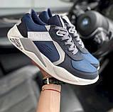 Мужские кроссовки кожаные весна/осень синие-белые Splinter Isotex 0820, фото 5