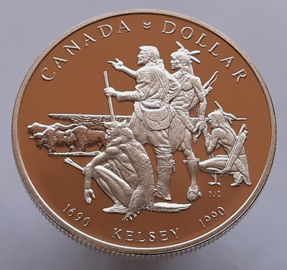 Канада 1 доллар 1990 - 300 лет путешествию Генри Келси Серебро
