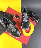 Подростковые кроссовки кожаные весна/осень черные Milord Спринт, фото 2