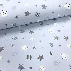 Ткань поплин звезды бело-серые с маленькими звездочками, горошком внутри на голубом (ТУРЦИЯ шир. 2,4 м)