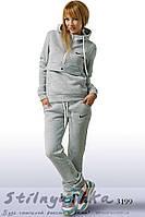 Женский теплый спортивный костюм Найк конверт серый, фото 1