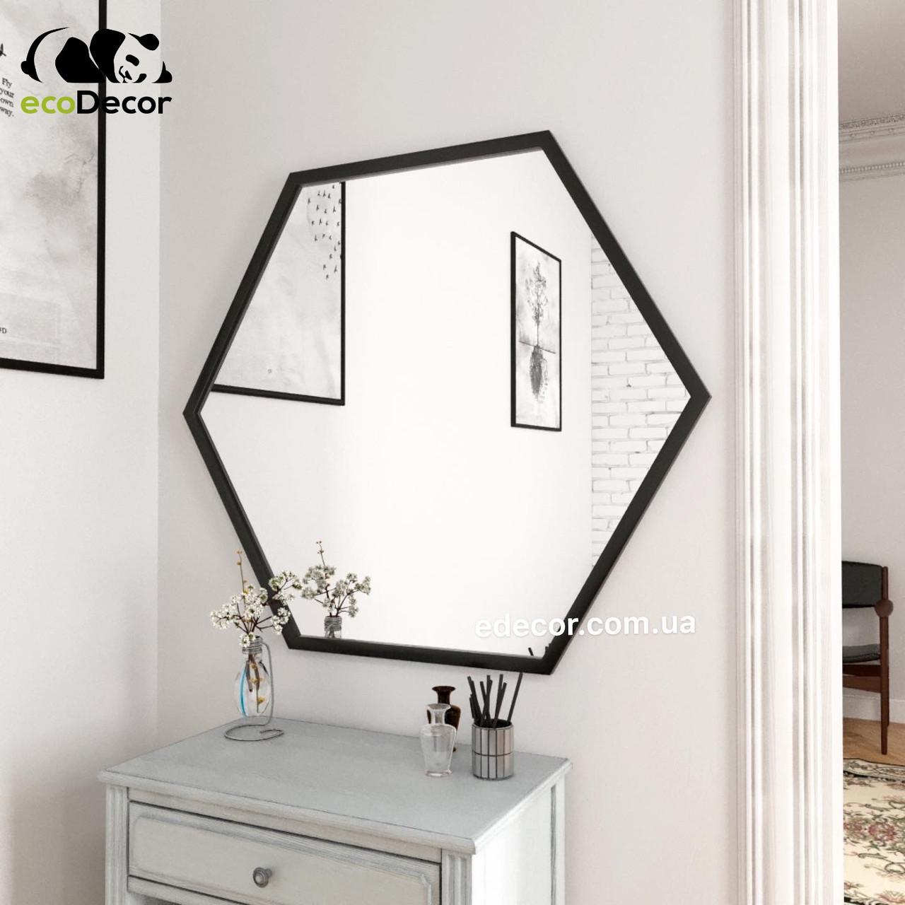 Зеркало в Лофт стиле черное Lindas R1