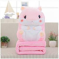 Плед Хомяк 3 в 1 мягкая игрушка подушка плед-подушка хомячок Розовый