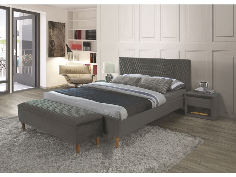 Кровать AZURRO VELVET 160 серый  (Signal)