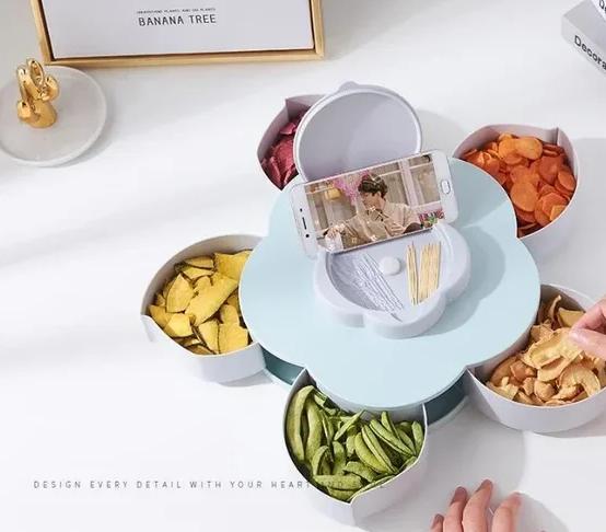 Конфетница вращающаяся складная SUNROZ Flower Candy Box для конфет и фруктов Фруктовница