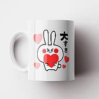 Чашка подарок любимому / любимой. Заяц. Подарок на день Валентина, фото 1