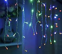 (GIPS), Led гірлянда новорічна 2.3 метра, 120 LED Різнокольорова, білий кабель, світлодіодна лід гірлянда | лед