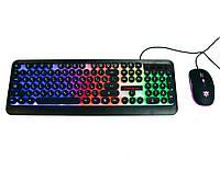 Светящаяся компьютерная клавиатура + геймерская игровая мышь с подсветкой HK3970 | мышка для компьютера (ПК),