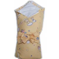 """Конверт одеяло на выписку Baby 3 в 1. """"Бежевый мишки маленькие"""""""