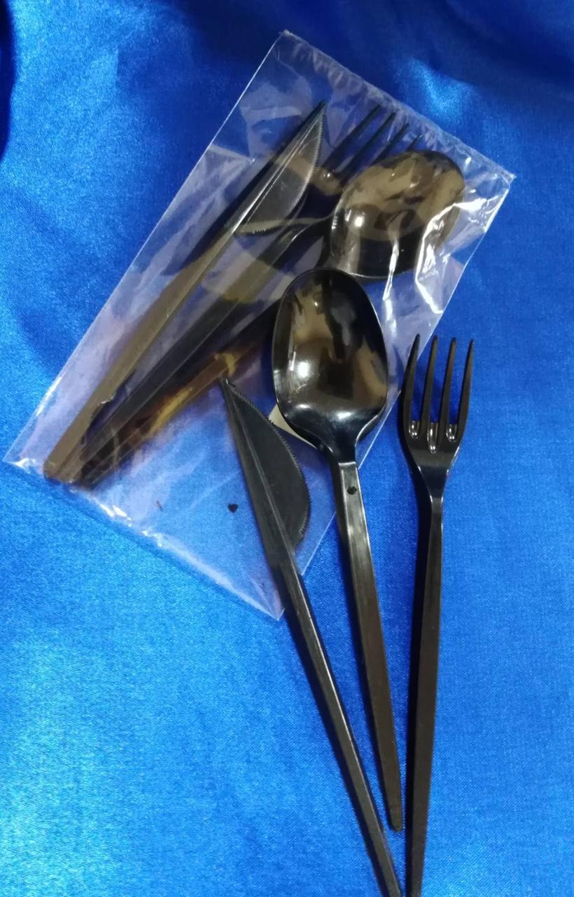 Набор(нож ,ложка ,вилка) пластиковый черный