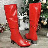 Сапоги красные на невысоком каблуке, декорированы молнией, фото 5