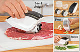 Нож для нарезки 3 в 1 Rolling Mincer и Tenderizer с чесночным прессом овощерезка, фото 2