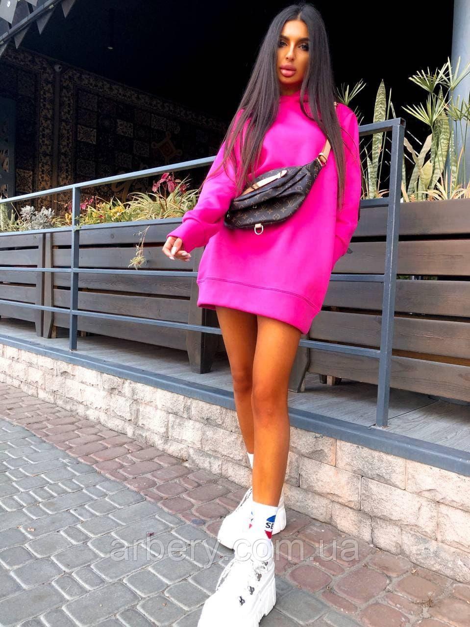 Шикарное спортивное платье-худи с начесом