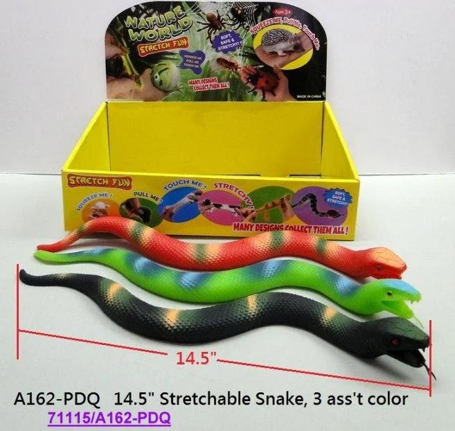 Змія гумова Гонконг тягучка 14,5 3 вида в коробці A162-PDQ