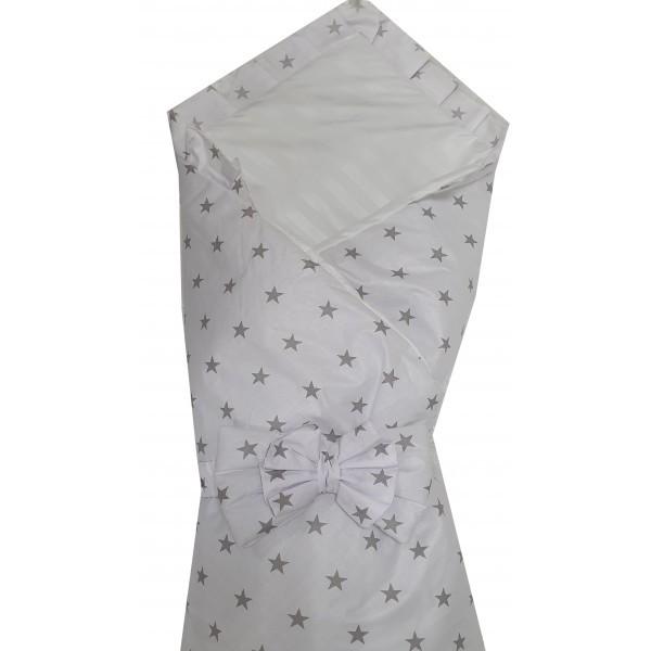 """Конверт одеяло на выписку Baby 3 в 1. """"Молочный с серыми одинаковыми звездами"""""""