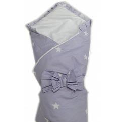 """Конверт одеяло на выписку Baby 3 в 1. """"серо голубой звезды"""""""