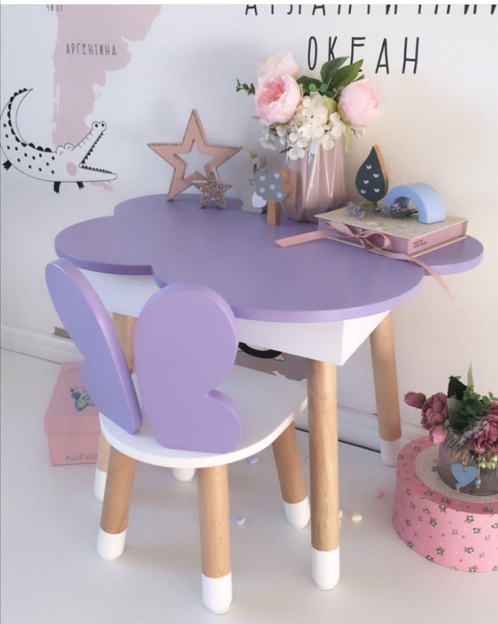 Стіл полуоблако з пеналом і 1 стілець метелик
