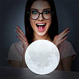 Ночник 3D светильник луна Moon Touch Control 15 см, 5 режимов, фото 5