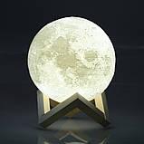 Ночник 3D светильник луна Moon Touch Control 15 см, 5 режимов, фото 9