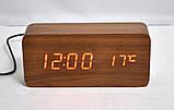 Стильные настольные часы под дерево VST862 с красной подсветкой, фото 3