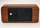 Стильные настольные часы под дерево VST862 с красной подсветкой, фото 4