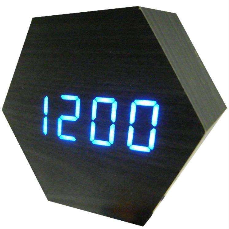 Настольные часы VST-876-5 с синей подсветкой в виде деревянного бруска