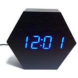 Настольные часы VST-876-5 с синей подсветкой в виде деревянного бруска, фото 3