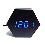 Настольные часы VST-876-5 с синей подсветкой в виде деревянного бруска, фото 4