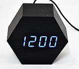 Настольные часы VST-876-5 с синей подсветкой в виде деревянного бруска, фото 5