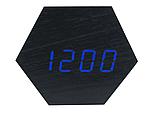 Настольные часы VST-876-5 с синей подсветкой в виде деревянного бруска, фото 7