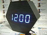 Настольные часы VST-876-5 с синей подсветкой в виде деревянного бруска, фото 10