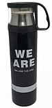 Термос вакумный стальной 500 мл с кружкой -«We are, I am, They one, Yours», фото 2